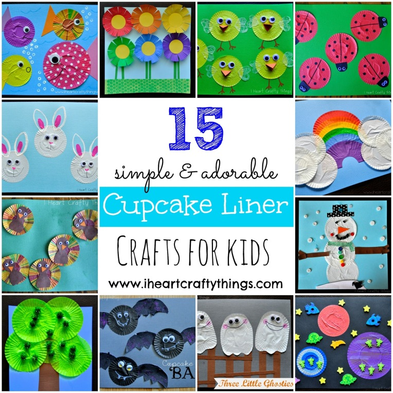 Cupcake Liner Crafts for Kids Collage